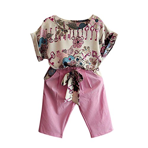 Pink Girls Cap Sleeve T-shirt (Franterd Baby Set, Girls Cute 2PCS T-Shirt + Pants, Short Sleeve Outfits Clothing)