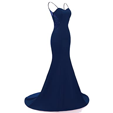 Rain Choi Mermaid Evening Dress Women Long Formal Prom Dress (Navy Blue, 2)