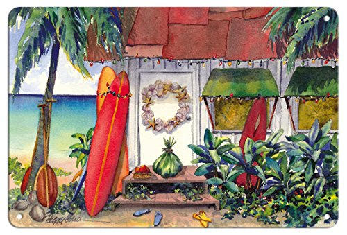 Pacifica Island Art 8in x 12in Vintage Tin Sign - Holiday at the Surf Shack - Hawaiian Beach House (Hale) at Christmas by Peggy Chun