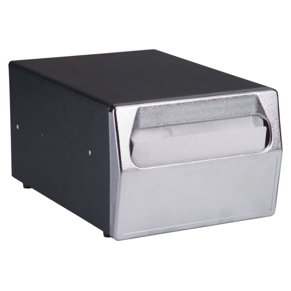Traex 6512-06 Black and Chrome Counter Top Napkin Dispenser