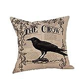 HGWXX7 Happy Halloween Pillow Covers Crow Print Linen Sofa Cushion Case Home Decor for Sofa(K)