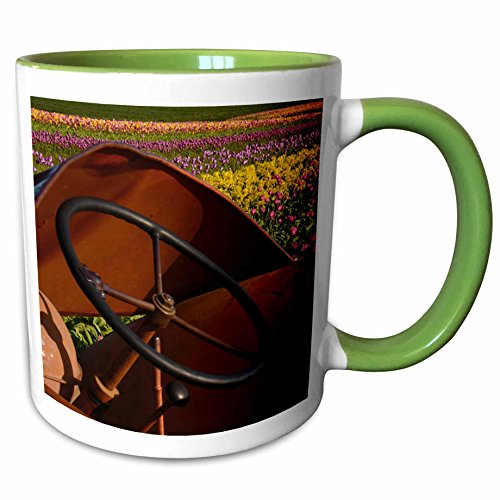 3dRose Danita Delimont - Michel Hersen - Tractors - Tractor, Tulip Festival, Woodburn, Oregon, USA - 11oz Two-Tone Green Mug - Outlet Oregon Woodburn