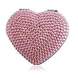 Handmade Heart Pink Bling Crystal Compact Mirror Cute Rhinestone Portable Makeup Mirror For Woman