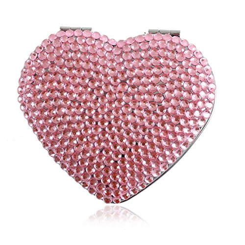 Handmade Heart Pink Bling Crystal Compact Mirror Cute Rhinestone Portable Makeup Mirror For Woman ()