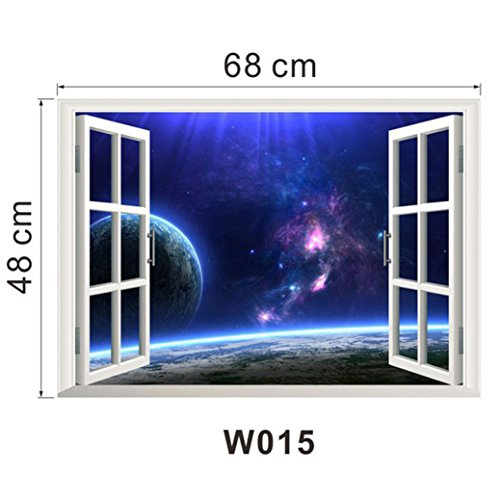 [TIFENNY 2016 3D Ocean Sea Window Wall Sticker Beautiful Sea Mural Home Decor (F)] (Halloween Decor Ideas 2016)