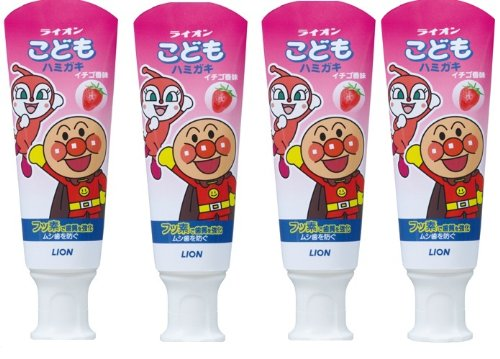 LION Anpanman Japanese best seller-toothpaste for kids strawberry flavor 4packs HOT ITEM!!!! by Lion (LION)