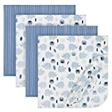 Just Born 4-Piece Flannel Blanket, Blue Rhino, One Size
