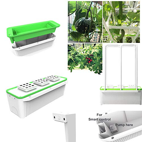 Big Smart Indoor Hydroponic Self Watering Planter 7L for Big Climbing Vegetables Like Tomato Cucumber with Built-in Pump and Smart Reminder with 150cm Climbing Trellis Super hydroponic Growing system