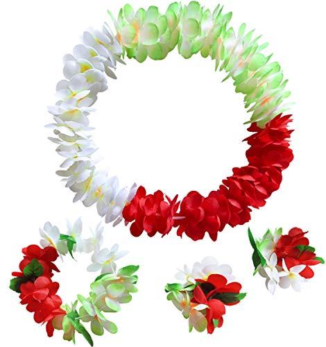 (Hawaiian Flower Leis Jumbo Necklace Bracelets Headband Set(Green+red+White))