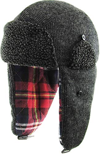 KBW-614 DGY Wool Blend Inner Plaid Aviator Trooper Trapper Hat Winter Cap