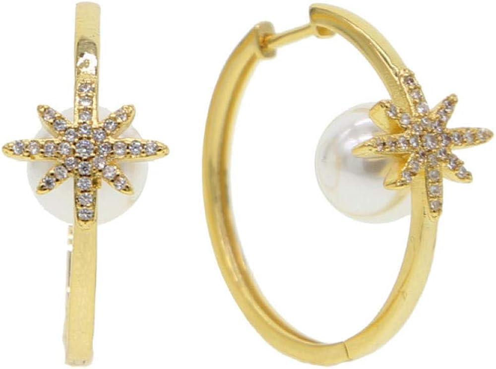 Pendientes de aro grande de oro dorado con perla redonda blanca delicadapiedra decopo de nieve de estrellapara mujer Joyería de encanto de moda preciosa