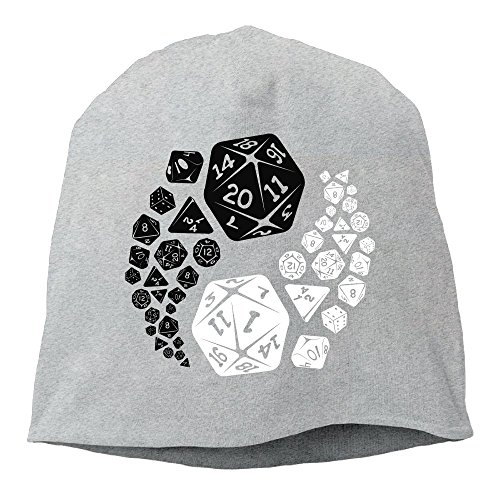 Fashion Solid Color Dungeons and Dragons Yin Yang Beanie Cap for Unisex Ash One Size