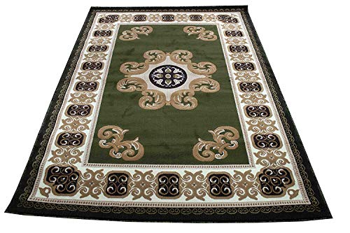 Colorful Chocolate Green Modern Contemporary Abstract Designer Hand Tufted 8x10 Bedroom Living Room Indoor Outdoor Rug Throw .5 Inch Thin Pile Height (Royal 102 Chocolate Green)