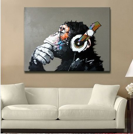 Libaoge Modern Gorilla Monkey Music Oil Painting Wall Painting Canvas Painting Home Decor Oil on Canvas 33x33 inches by Libaoge