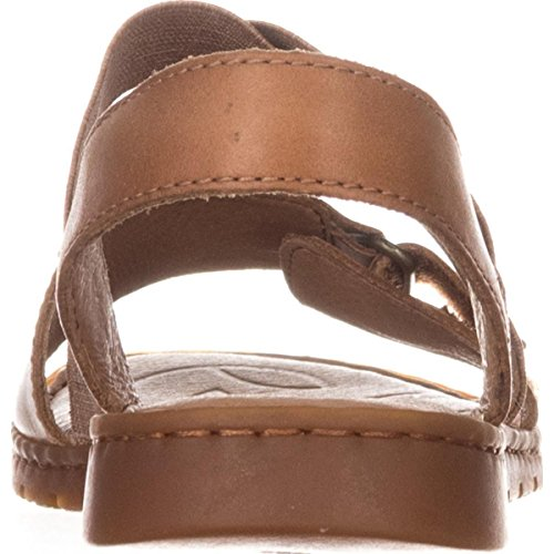 Casual Leather Born Sandals Open Brown Toe Britton Slide Womens qPwBw7xX