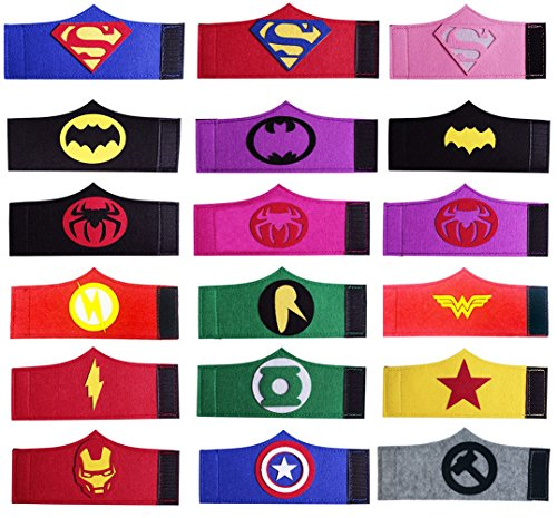 Dlazm 18 Pieces Superhero Bracelets for Children Birthday Party Supplies]()
