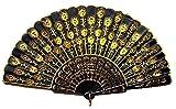 gold hand fan - Womens Beautiful Silk Hand Fan (Golden Sequins)
