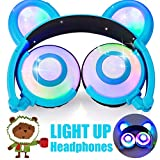 Cheap Kids Headphones Bear Ear AMENON USB Rechargeable Wired Foldable Over Ear Gaming Headsets with LED for Girls,Kids,Boys,Compatible for iOS,Android,Computer,Easter Gifts
