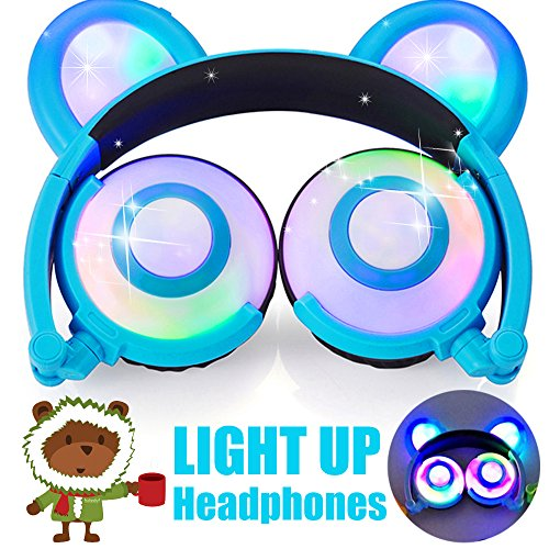 Kids Headphones Bear Ear AMENON USB Rechargeable Wired Foldable Over Ear Gaming Headsets with LED for Girls,Kids,Boys,Compatible for iOS,Android,Computer,Easter Gifts