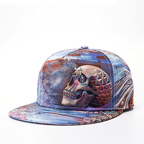 PrettyLife Unisex Hip Hop All Over 3D Print Flat Panel Flex Fit Snapback Trucker Cap Hat (Skull Print)