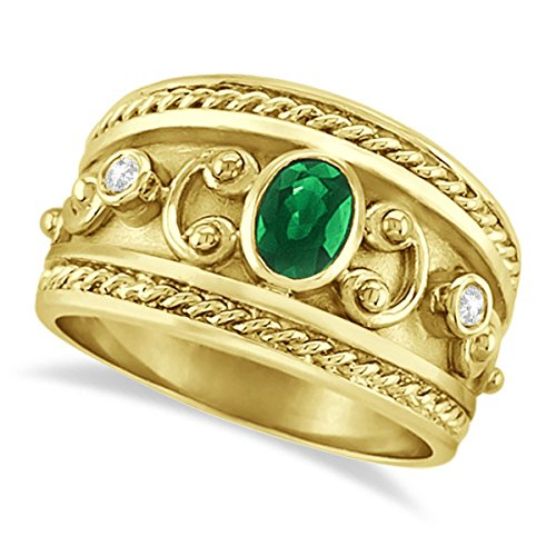 0.73ct Vintage Style Oval Shaped Green Emerald and Diamond Accented Byzantine Ring 14k Yellow Gold