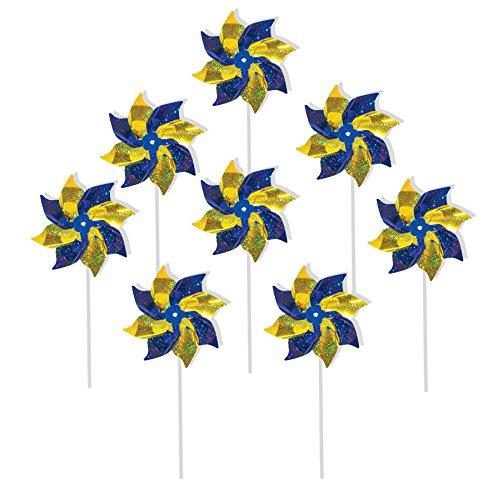 In the Breeze 2758 Blue & Yellow Mylar Pinwheel Spinner, 8