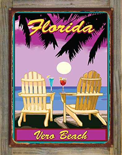 Northwest Art Mall Vero Beach Florida Adirondack Chairs Palms Punch Rustic Metal Print on Reclaimed Barn Wood by Joanne Kollman (18
