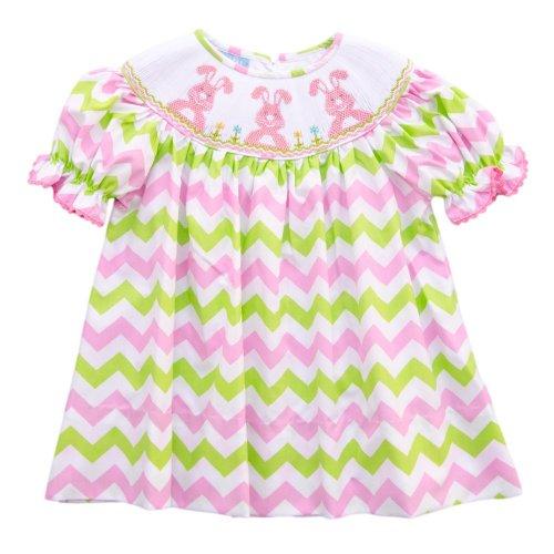 Anavini Green and Pink Chevron Bishop Dress-4T