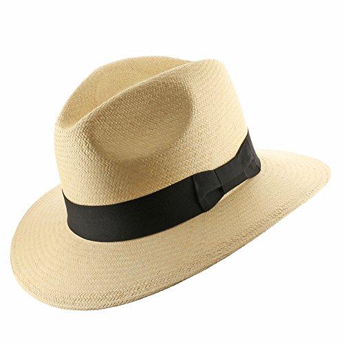 New FEDORA SAFARI Panama Hat NATURAL STRAW Size 7 1/4 by Ultrafino