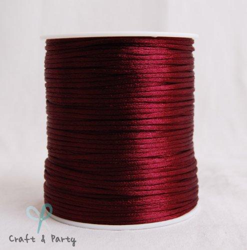 (Wine 2mm x 100 yards Rattail Satin Nylon Trim Cord Chinese Knot )