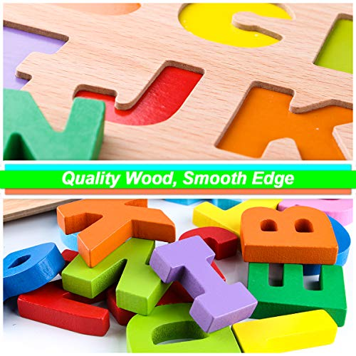 SKYFIELD Wooden Alphabet Puzzles, Abc Puzzle Board for Toddlers 2 - 6 Years Old,Preschool Boys & Girls Educational Learning Letter Toys, Sturdy Wooden Construction , 13.4'' L x 9.8'' (Alphabet Puzzle)