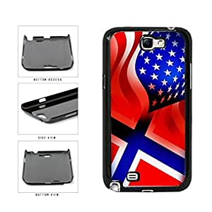 Norway and USA Mixed Flag Plastic Phone Case Back Cover Samsung Galaxy Note II 2 N7100