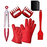 Cheap Barbecue Tool Set 9 PCS,Pack of 2 Silicone Gloves,Pack of 3 Nonstick BBQ Mats,Pack of 2 Meat Shredder Claw,Silicone BBQ Tongs and Silicone Basting Grill Brush for Barbecue(Barbecue Set-Red)