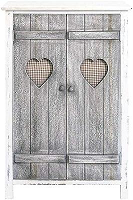 rebecca mobili Mueble auxiliar Cajonera Comoda 2 puertas Gris Blanco Decapado Vintage Casa de campo Dormitorio Baño Entrada (Cod. RE4563)