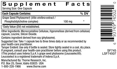 Thorne Research - OPC-100 - Grape Seed Phytosome for Antioxidant Support - 60 Capsules Discount