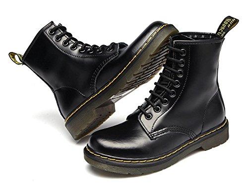 Modemoven Damen Runde Toe Lase-up Stiefeletten Damen Leder Kampfstiefel Fashion Martens Stiefel Leuchten Sie schwarzes Fell gefüttert