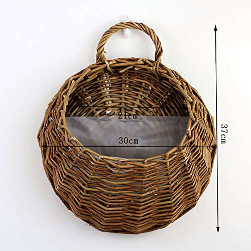Luerme Rattan Flower Basket Hand Made Wicker Nest Flower Pot Planter Hanging Vase Potato Bucket Toy and Magazine Storage Organizer Food Container Wall Decor (L, Brown)