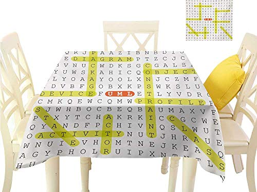 familytaste Table Covers Word Search Puzzle,Unified Modeling Language Word Puzzle with Highlighted Keywords,Black Yellow Orange Printing Tablecloth Custom W 70