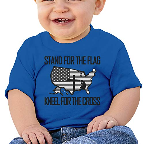 Price comparison product image oe, Federal Holiday Stand for The Flag Kneel for The Cross UBaby Boy Girl Short Sleeve T-Shirt Tops Casual Outfit 6M Blue