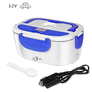 Ming Yu-MY Fiambrera Electrica para 304 Acero Inoxidable Calentador de Comida con Cuchara Fiambrera Desmontable 12V Adecuado para los Coches(Azul, 12V ...
