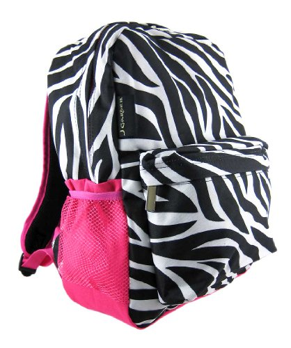 9621aa4d8a Zebra Print Backpack w  Hot Pink Trim Pocket (B002JLOR3Y)
