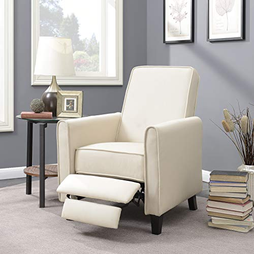 (Belleze Modern Living Room Furniture Design Recliner Club Linen Chair Accent, Beige)