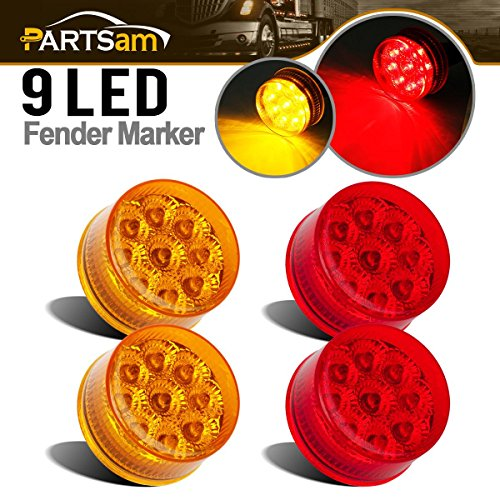 - Partsam 4X 2 Round Red/Amber LED Side Marker Light for RV Cars, Sealed 2