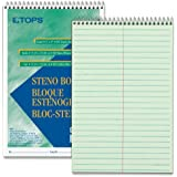 TOPS(R) Steno Books, 6in. x 9in., Gregg Ruled, 80 Pages, Green Tint