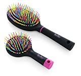 OneDor Rainbow S-Curve Ball tipped Bristles Air Volum Hair Brush with Flexible Cushion Base for Hair | Detangling Comb (2 Set - Black)