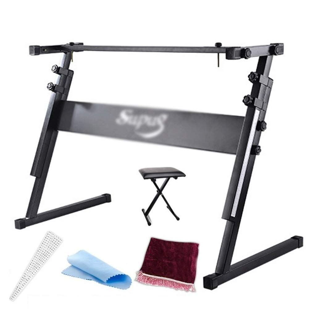 Synthesizers & Workstations Keyboard Stand Piano Stand Keyboard Stand and Bench Set Iron Home with Stool Keyboard Stand Suitable for 54-61 Keys (Color : Black, Size : 804083cm) by Synthesizers & Workstations