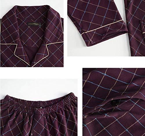 Abbigliamento Da Maniche Uomo Loungewear Lunghe Due Estivo In Pezzi Cotone Camera Set Con Rosso Pigiama fx0Hwq0