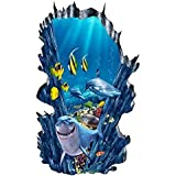 CNUSER 3D Space Wall Decals Sea World Floor Stickers, for Kids Room Bathroom Removable Decoration Home Decor Sticker
