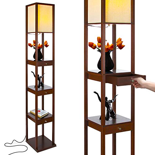 Brightech Maxwell Drawer Edition - Shelf & LED Floor Lamp Combination - Modern Living Room Standing Light with Asian Display Shelves - Havana Brown ()