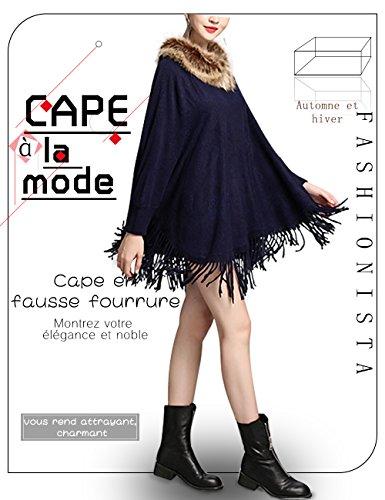 avec Fausse Fourrure Frange Femme Cape Poncho nq0wvvA1